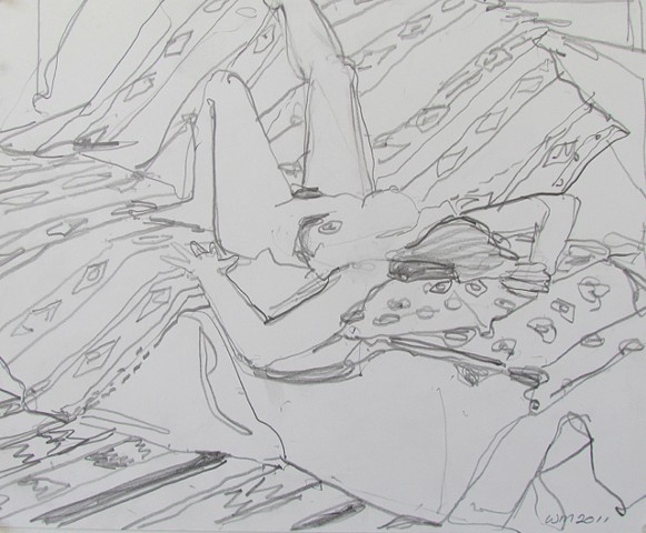 nude, woman, reclining, patterned rug, patterned rug