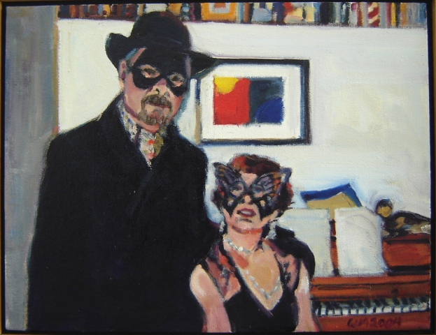 masks, evening attire, overcoat, hat, cocktail dress, black, painting in background, walls, black coat, black ht, beard, red head, piano in background