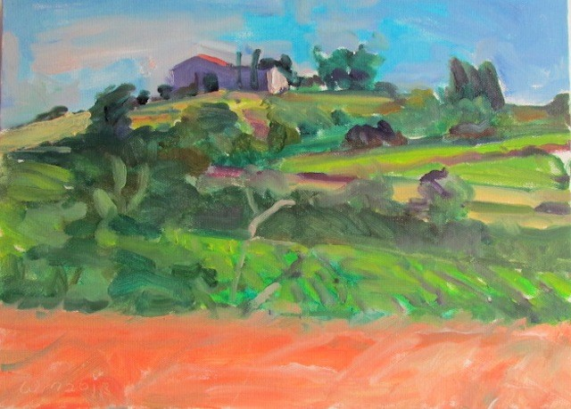 plein air, vineyards, fields, building on hill, trees, blue sky, clouds