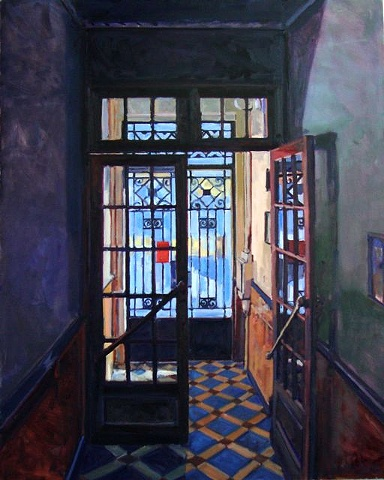Nice, France, entrance,hallway,stained glass, ceramic tile, wood,oil on canvas, blue, yellow, red, high contrast, interior - exterior, sunlight