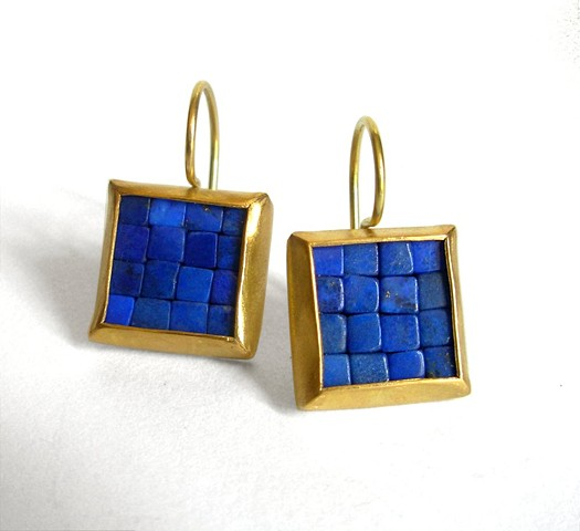 mosaic earrings, lapis lazuli gold earrings, gold lapis lazuli earrings, gold mosaic earrings
