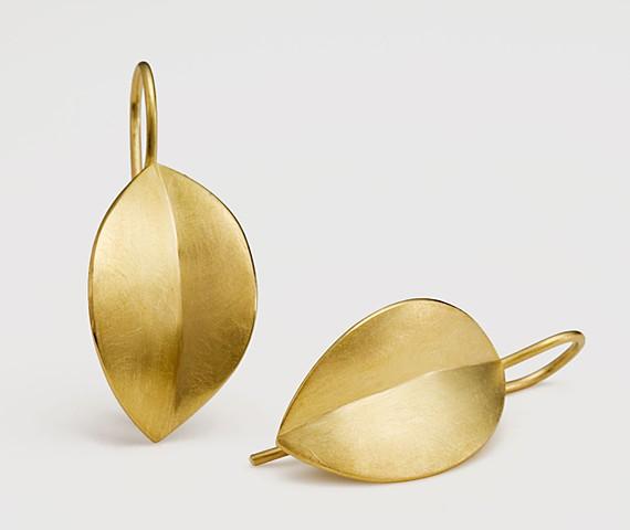 leaf earrings, gold leaf earrings