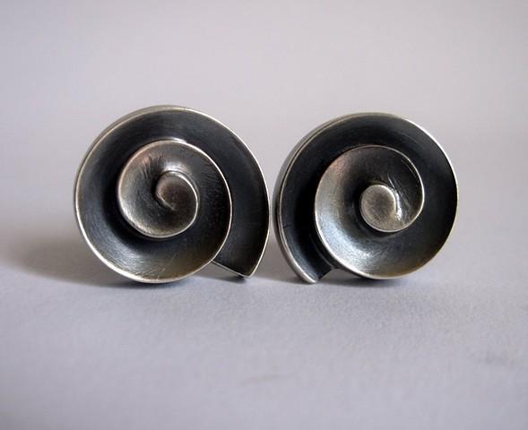 cello scroll cuff links, silver cuff links, scroll cuff links, sculptural cufflinks