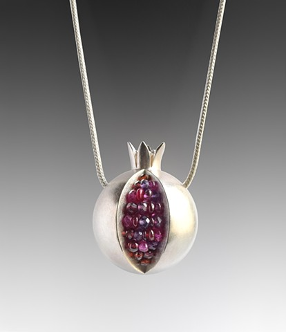 pomegranate necklace, pomegranate pendant, silver pomegranate necklace, pomegranate ruby necklace