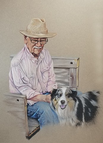 old man and his dog the Australian Shepherd