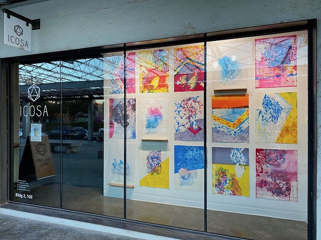 Installation view of Telluric Episodes ( Saturation) at ICOSA gallery part of their Window Dressing Series