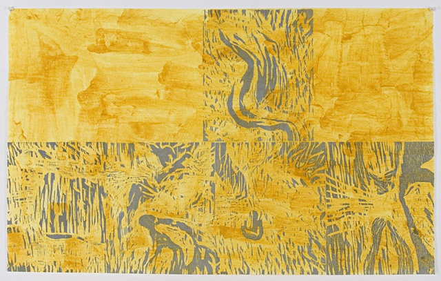 Woodcut with Tumeric Dye