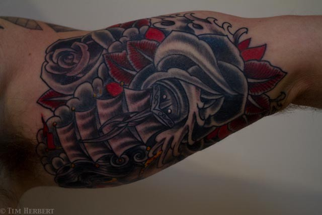 Rose and Ship Tattoo