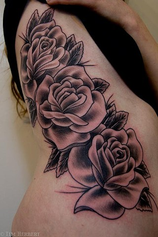 Roses on Ribs Tattoo