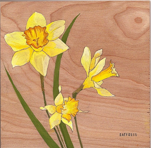 Daffodil on Wood