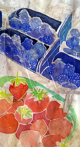 berries, blueberries, strawberries, french market, paris watercolor, eco dye