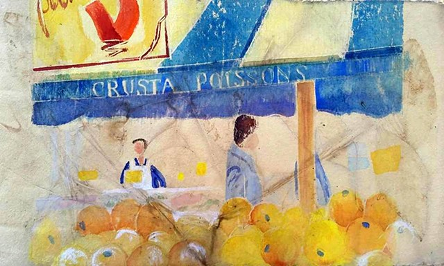 Paris, Market, Oranges, Whiteline, handprinted, original, watercolor