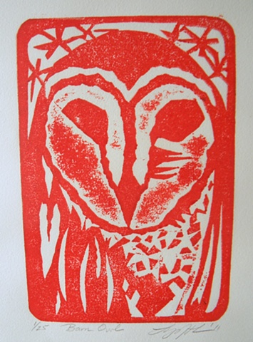 Owl, collagraph