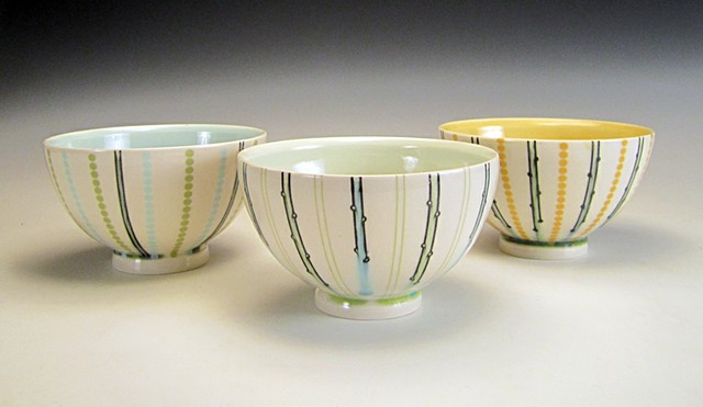 3 thrown porcelain soup bowls with underglaze and overglaze decals