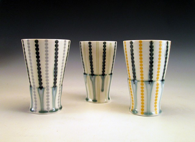 3 slip cast porcelain tumbles with underglaze and overglaze decals