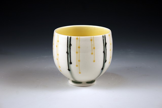 porcelain slip cast cups with underglaze and overglaze decals