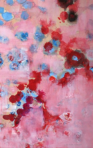 abstract fine art, nature, mixed media on paper