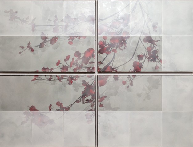 """Four Panel Red Orchids on Brewster Grey"""