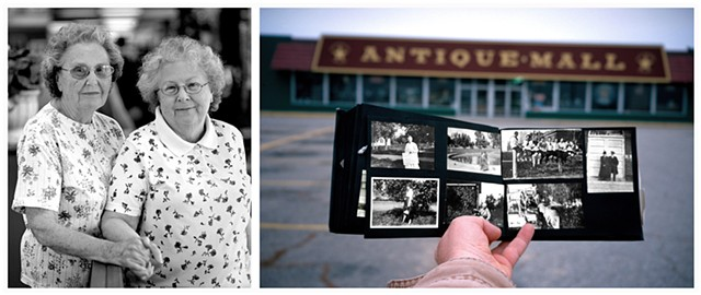 Left: Ruth and Louise, owners of the stall in the antiques mall where I purchased Nina's photographs in 1993. Right: Self-portrait holding Nina's family album, outside the antiques mall.