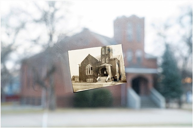 One of Nina's photographs from 1915 juxtaposed with the original location. As seen through the window of my friend John's house, Ellendale, North Dakota.