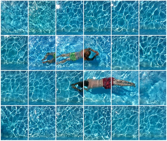 Swimmers, Umbria, Italy - Gridded in Photoshop