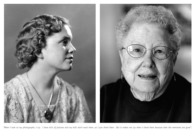 "Margaret, 1944 and 2010. ""When I look at my photographs, I cry. I have lot's of pictures and my kids don't want them, so I just shred them. But it makes me cry when I shred them because then the memories are gone."""