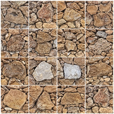 Dry-Stone Wall, Gozo, Malta - Snapseed App - Gridded in Photoshop