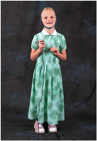 Hutterite student making a self-portrait
