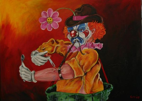 Junkie Clown Painting
