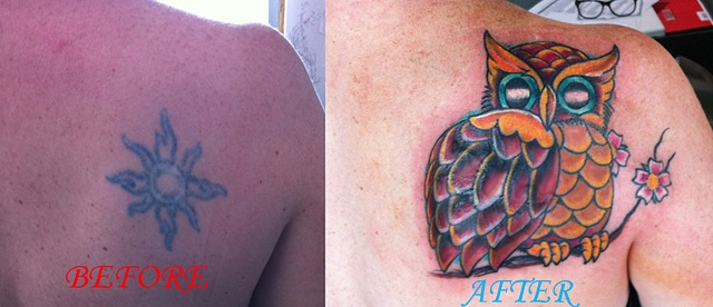 Owl covering some scarred up tribal.