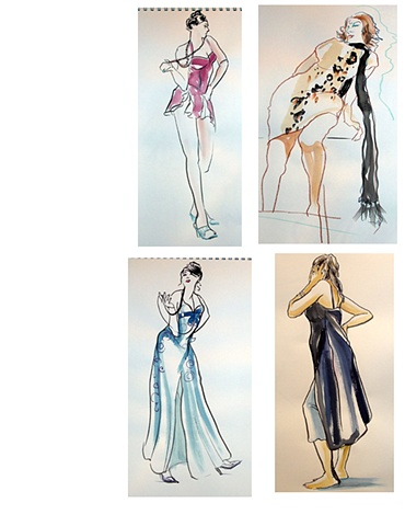 4 fashion drawings
