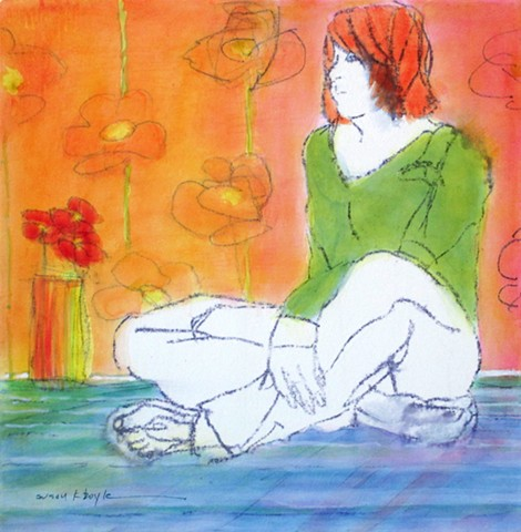 Figurative, Impressionism, Bonnard, colorful, redhead, tiny painting, contemporary