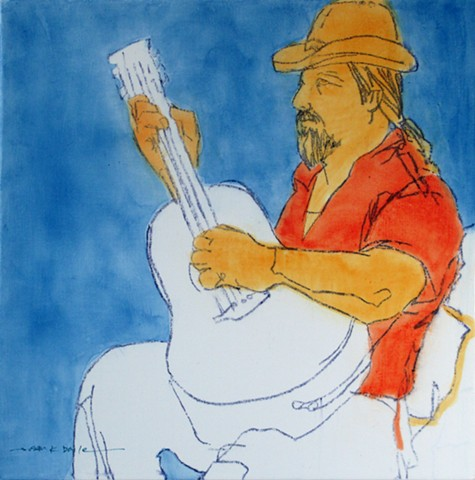 tiny painting, figurative, guitar, musician, modern, contemporary, expressionism, music