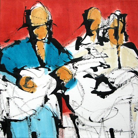 Three Musicians | Abstract Figurative Art