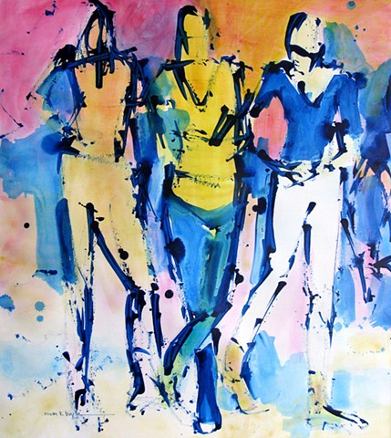 Abstract Figurative Art. Artist News. Abstract reality. contemporary, modern, abstract, figurative, models, dancing, cowboy boots, music, expressionism