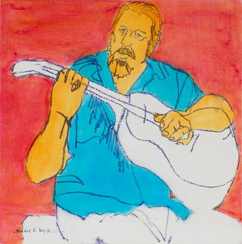 figurative, abstract figurative artist, tiny painting, figurative, guitar, musician, modern, contemporary, expressionism, music