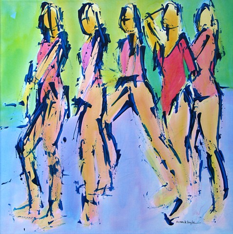 abstract figurative art by susan k boyle - five figures in motion