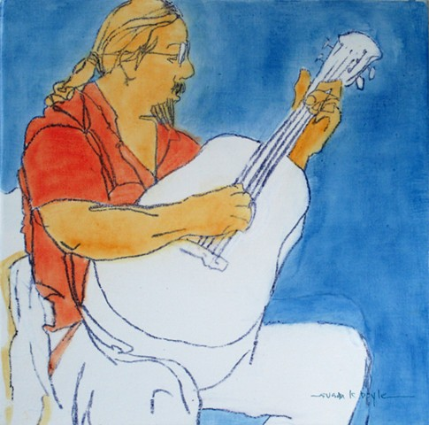 tiny painting, figurative, guitar, musician, modern, contemporary, singer, music