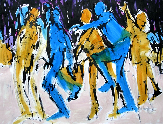Abstract Figurative, men, baseball, figurative abstract artist