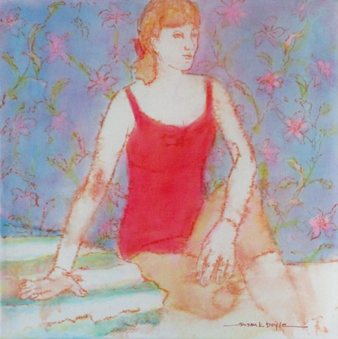 tiny painting, figurative, contemporary, expressionism, mood, floral motif, seated woma