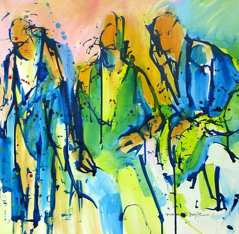 abstract, figurative, expressionism, men, interactions, modern, contemporary, Three figures conversing featuring bold lines and brilliant colors, abstract figurative artist.