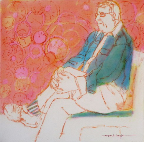 small, figurative, contemporary, expressionism, seated man, clocks, timepieces