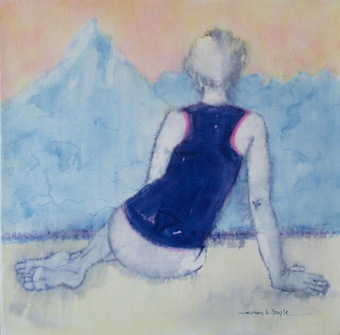 tiny painting, figurative, contemporary, impressionism, seated woman, Afghanistan, Mount Noshaq