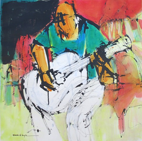 figurative abstract artist, contemporary, modern, guitar player, musician