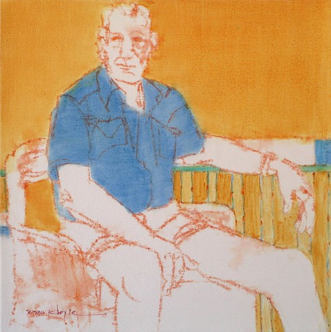 small painting, figurative, contemporary, Bonnard, seated man