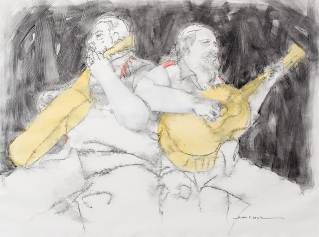 Abstract figurative duet, guitar players