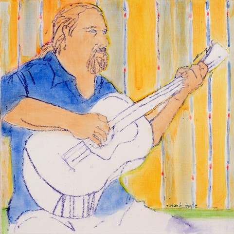 Guitar, Musician, small, figurative, contemporary, expressionism, seated man