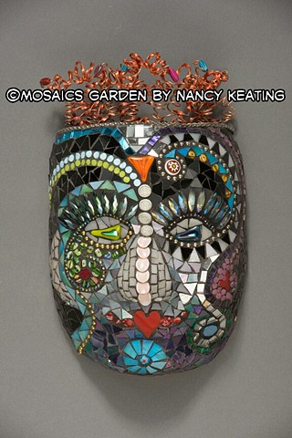 glass mosaic mask sculpture