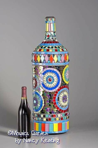 glass mosaic wine bottle