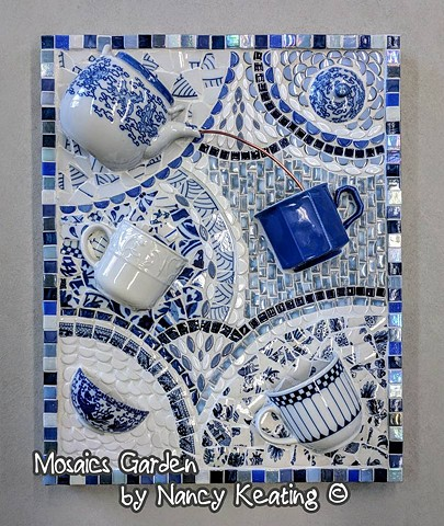 3 Dimensional Pique Assiette style mosaic art panel